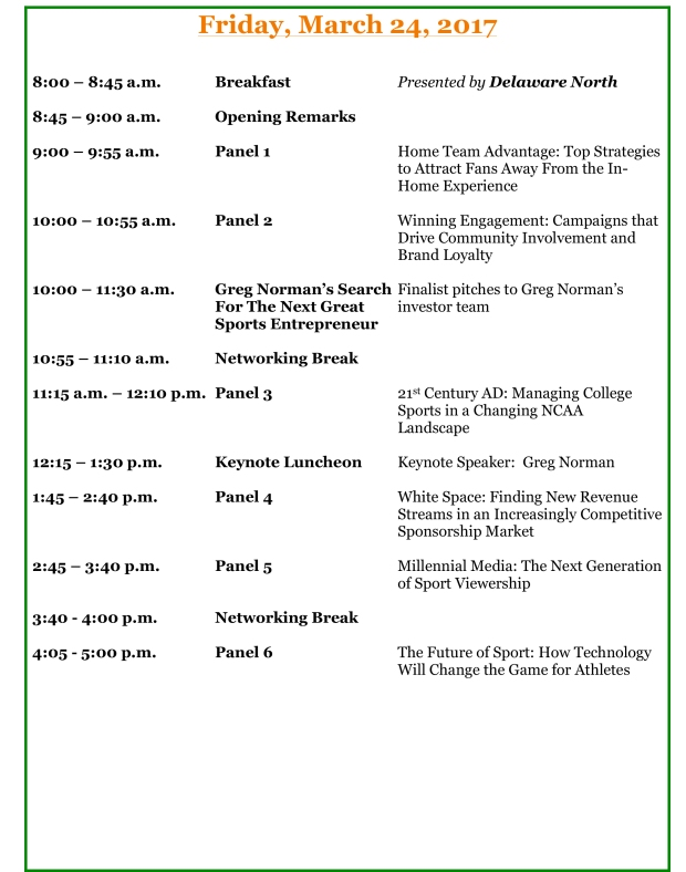 Conference Agenda – University Of Miami Sport Industry Conference